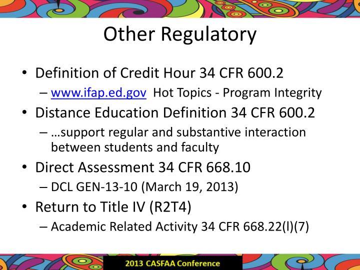 Other Regulatory