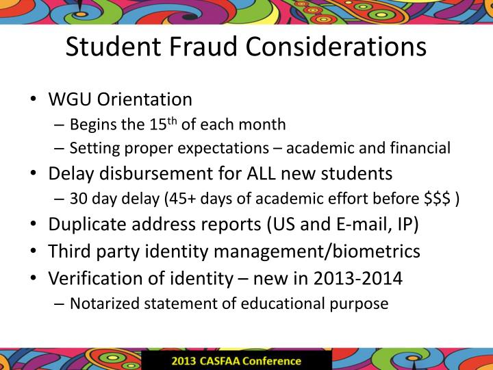 Student Fraud Considerations