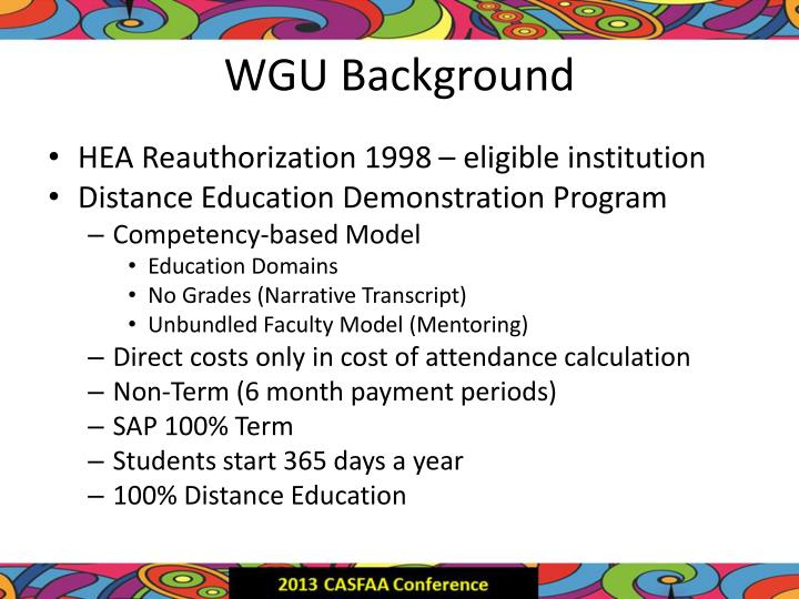 WGU Background