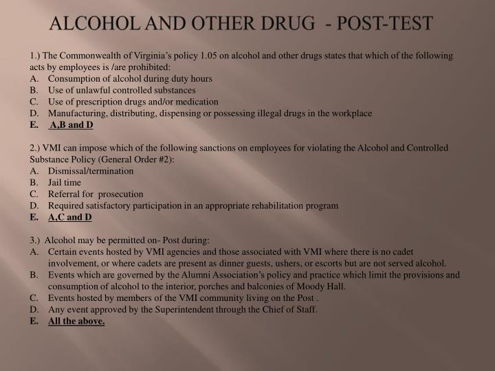 ALCOHOL AND OTHER DRUG  - POST-TEST
