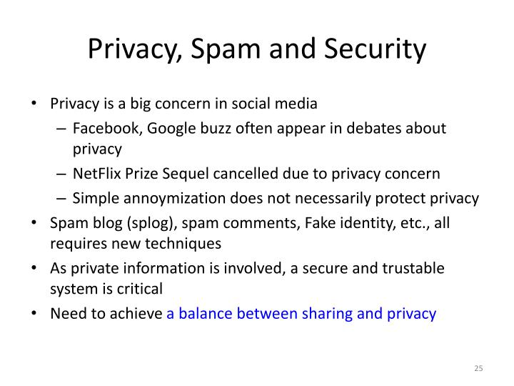 Privacy, Spam and Security