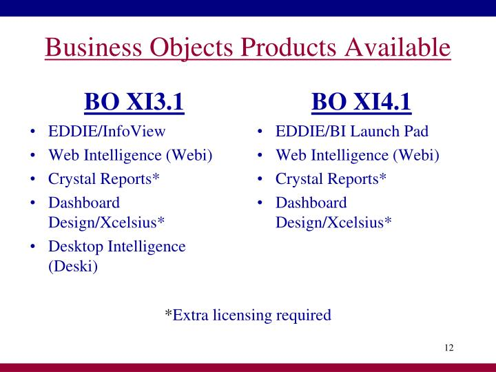 Business Objects Products Available