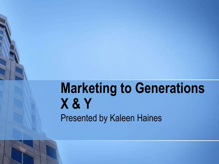 marketing to generation y Generational marketing is a marketing approach that uses generational segmentation in marketing communication according to wikipedia , a generation is defined as a cohort of people born within a similar span of time (15 years at the upper end) who share a comparable age and life stage and who were shaped by a particular span of time (events.