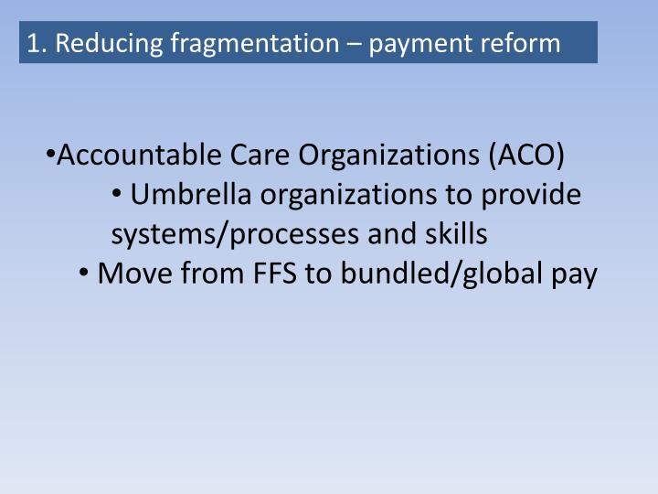 1. Reducing fragmentation – payment reform