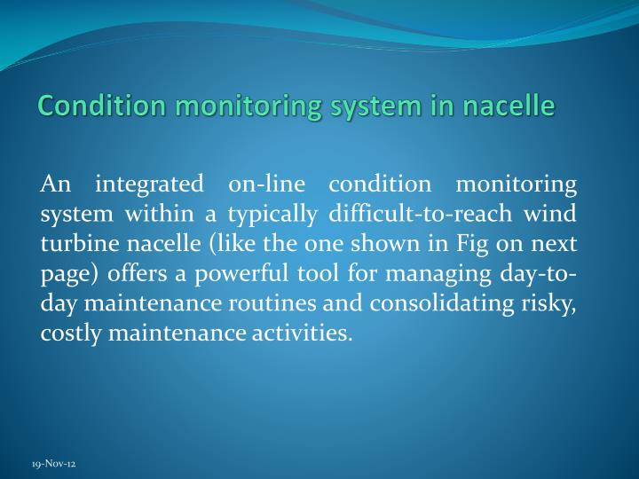 Condition monitoring system in nacelle