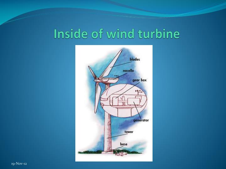 Inside of wind turbine