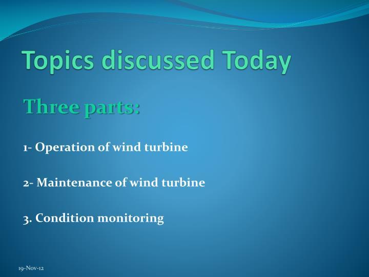 Topics discussed Today