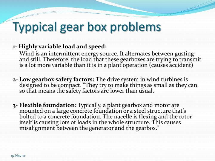 Typpical gear box problems