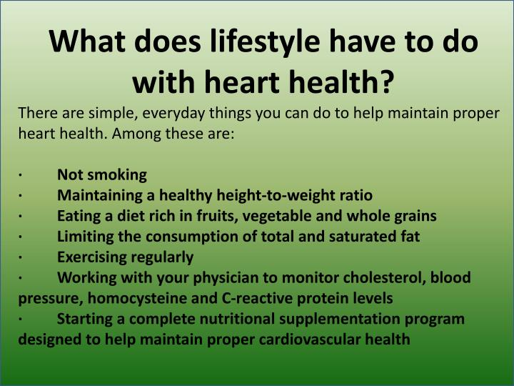 What does lifestyle have to do with heart health?