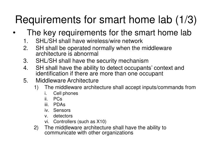 Requirements for smart home lab (1/3)