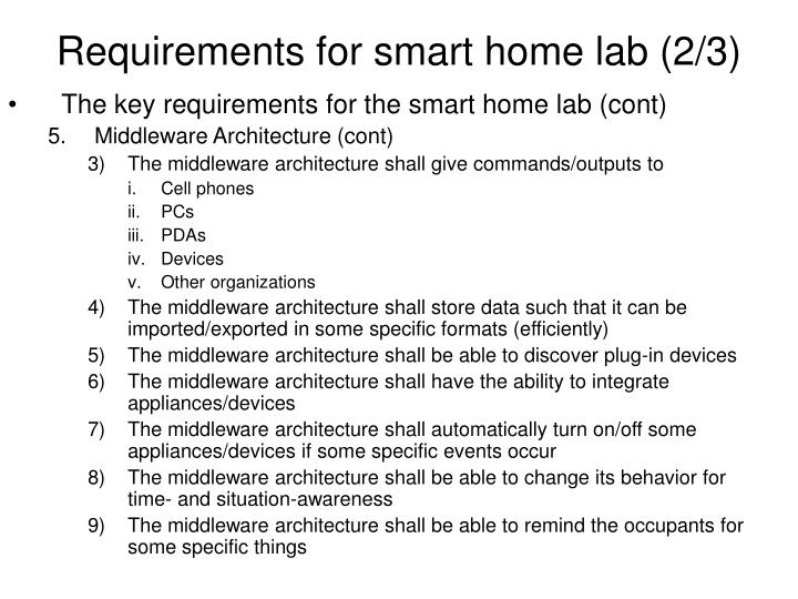 Requirements for smart home lab (2/3)