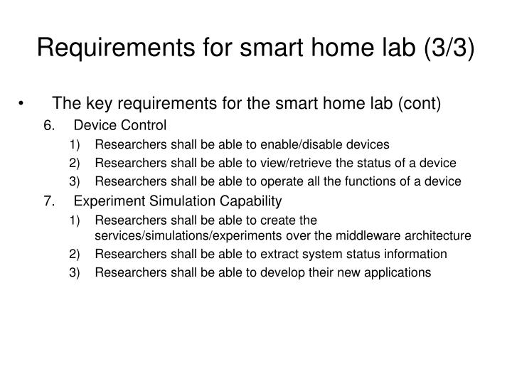 Requirements for smart home lab (3/3)