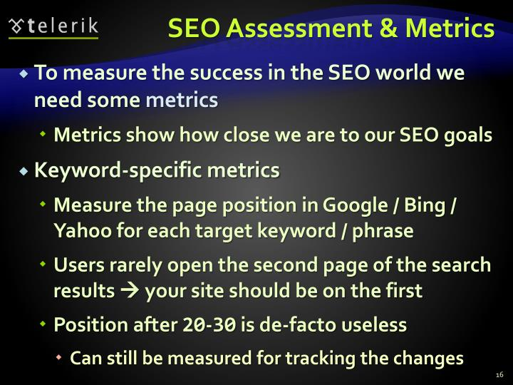 SEO Assessment & Metrics