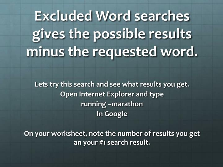 Excluded Word searches gives the possible results minus the requested word.