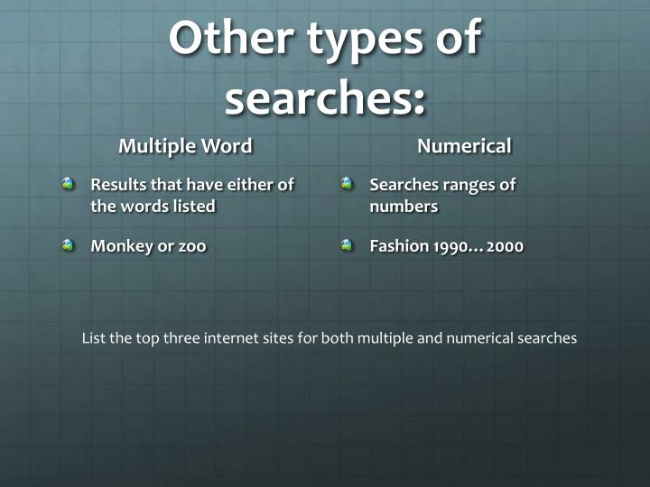 Other types of searches:
