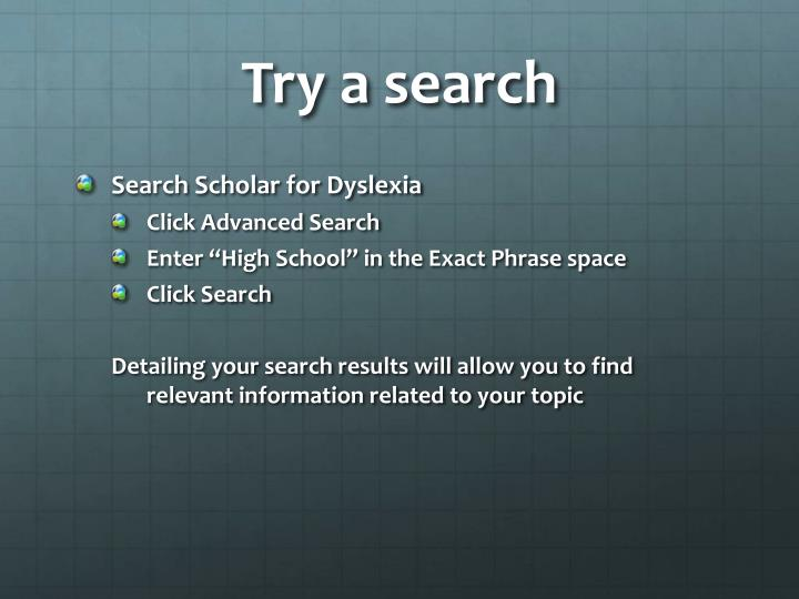 Try a search