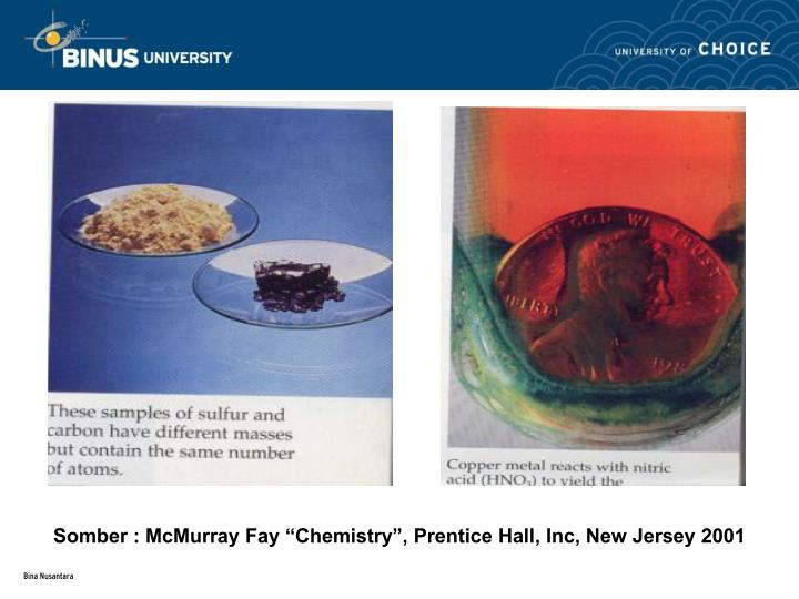"Somber : McMurray Fay ""Chemistry"", Prentice Hall, Inc, New Jersey 2001"