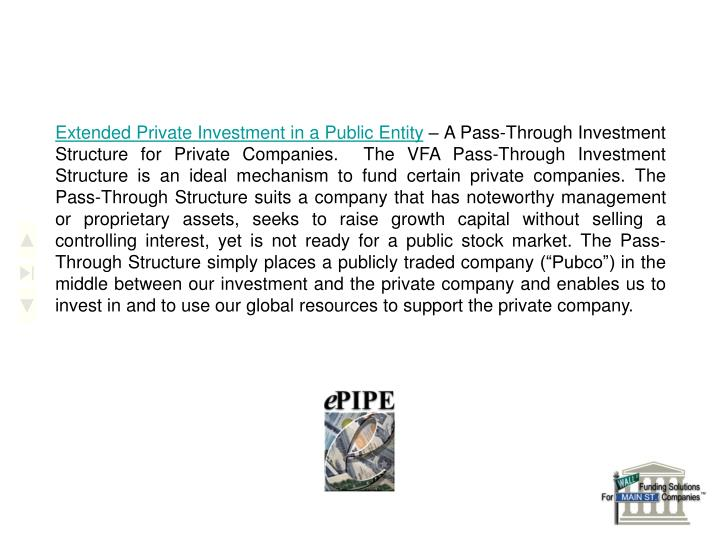 Extended Private Investment in a Public Entity