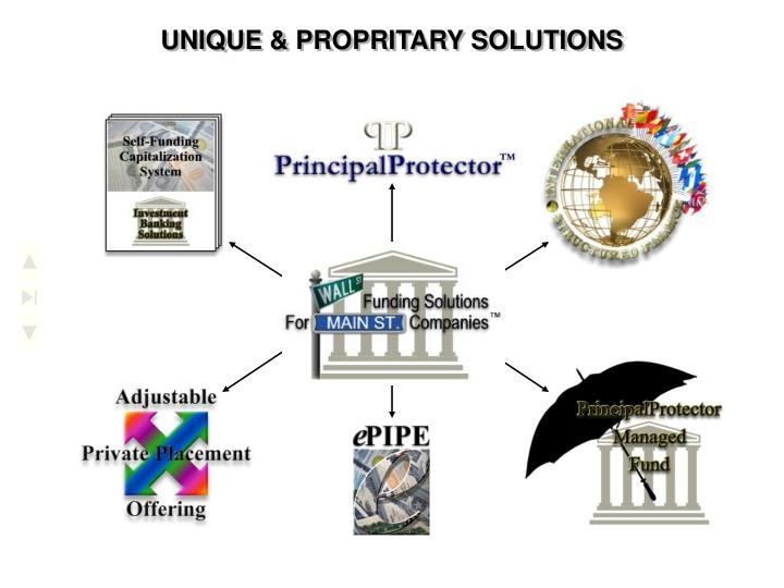 UNIQUE & PROPRITARY SOLUTIONS