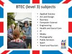 btec level 3 subjects
