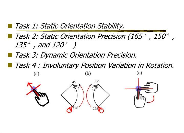 Task 1: Static Orientation Stability.