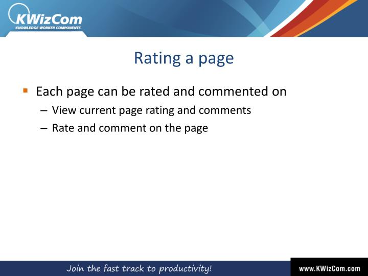 Rating a page