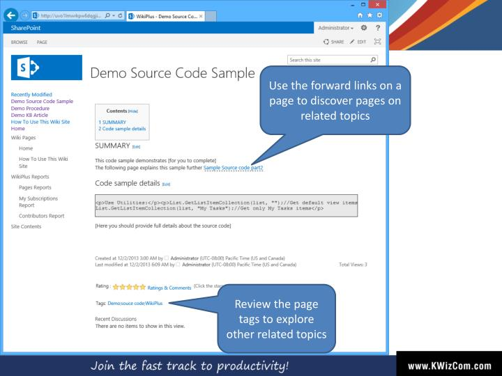 Use the forward links on a page to discover pages on related topics