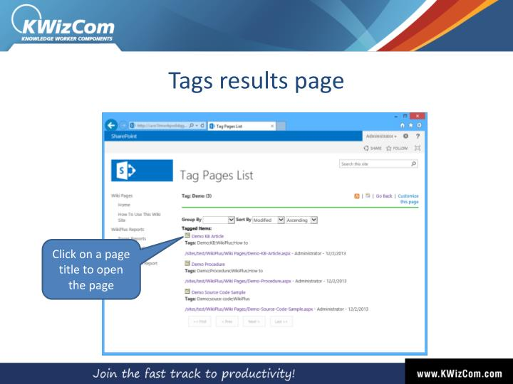 Tags results page