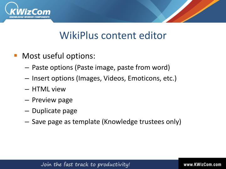 WikiPlus content editor