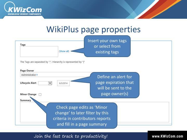 WikiPlus page properties