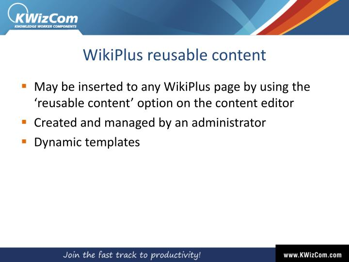 WikiPlus reusable content