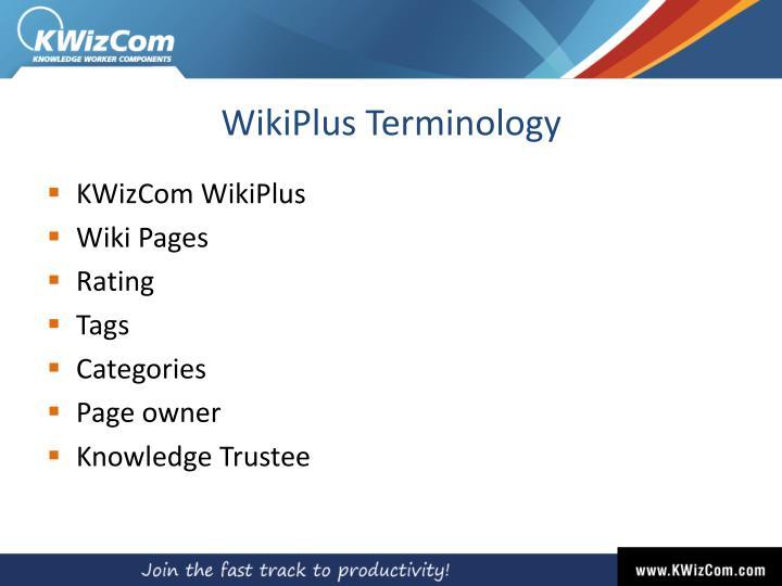 WikiPlus Terminology