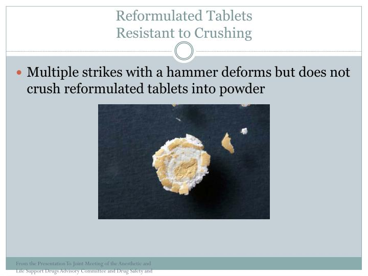 Reformulated Tablets