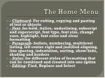 the home menu