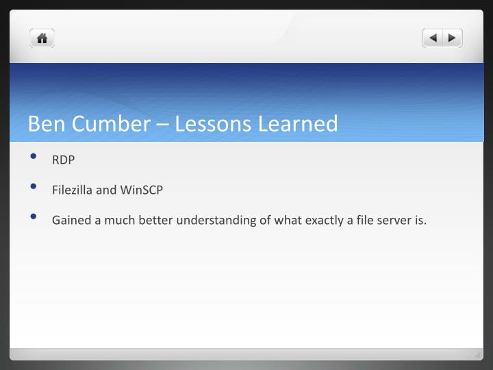 Ben Cumber – Lessons Learned