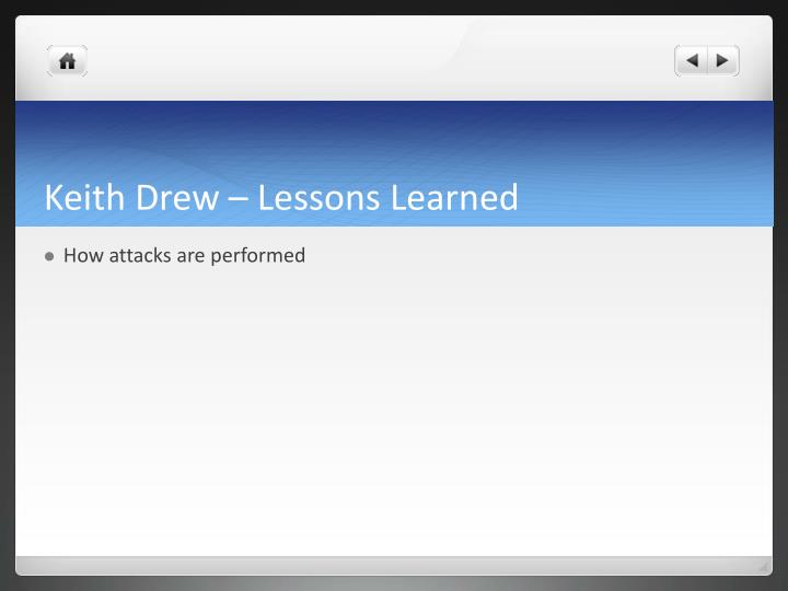 Keith Drew – Lessons Learned