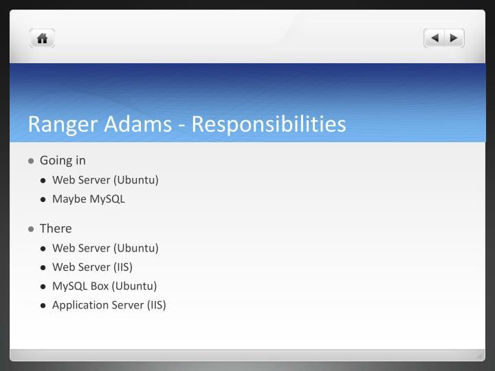 Ranger Adams - Responsibilities