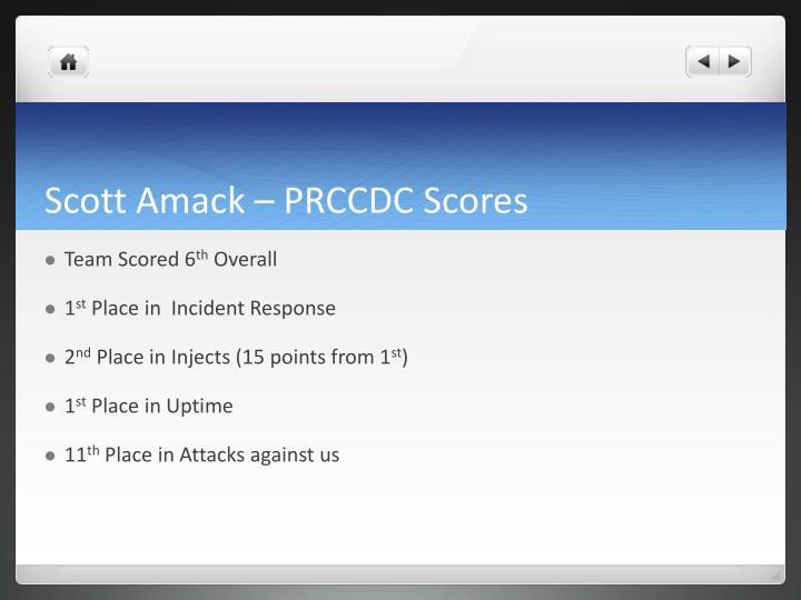 Scott Amack – PRCCDC Scores