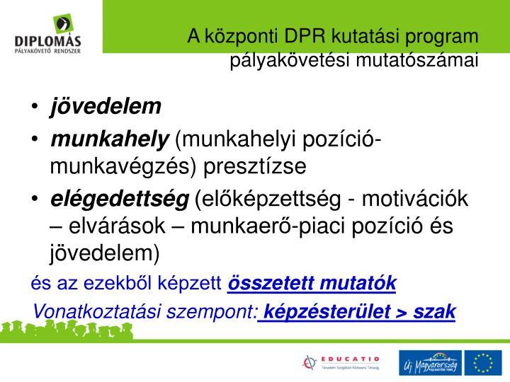 A központi DPR kutatási program