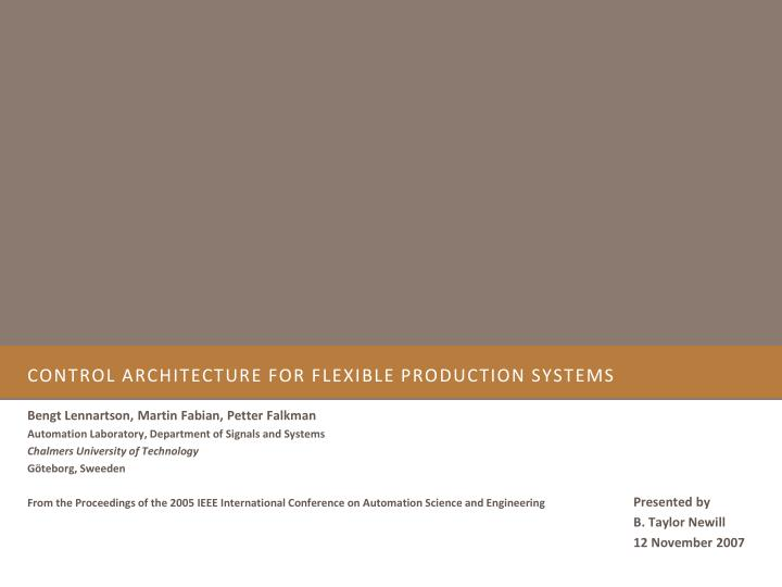 control architecture for flexible production systems n.