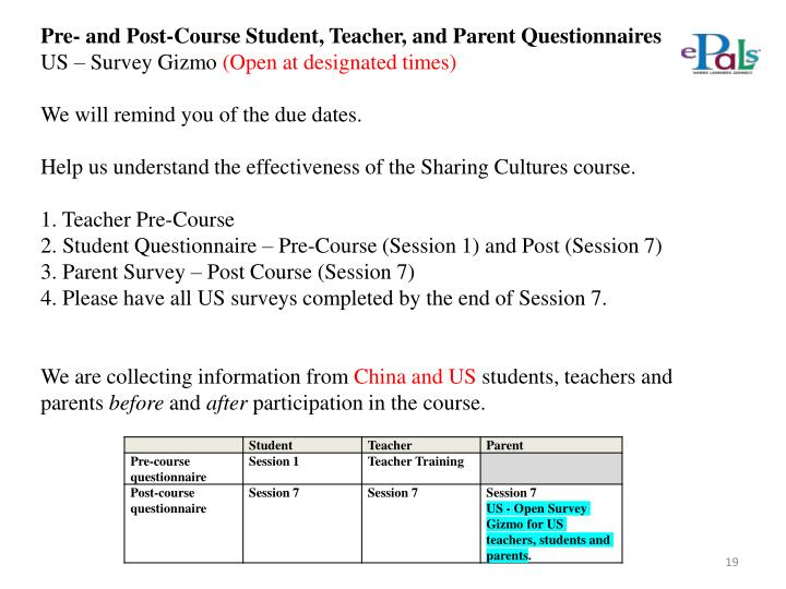 Pre- and Post-Course Student, Teacher, and Parent Questionnaires