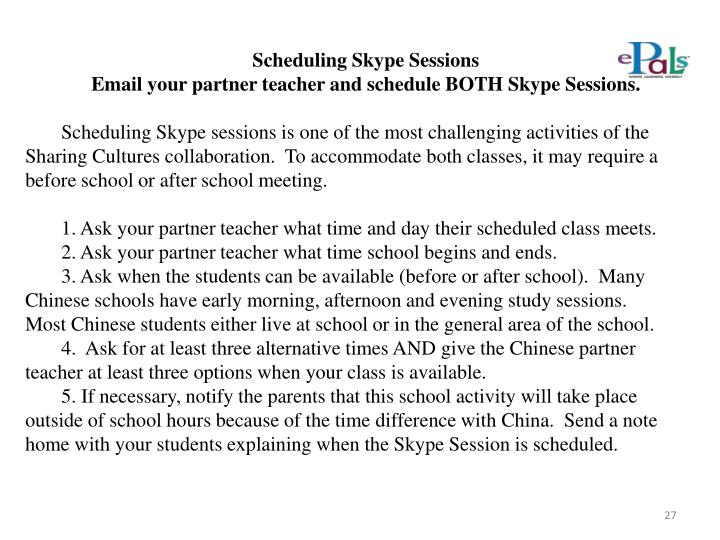Scheduling Skype Sessions