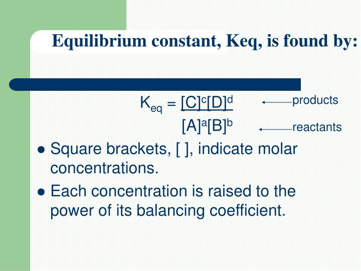 Equilibrium constant, Keq, is found by: