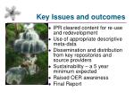 key issues and outcomes