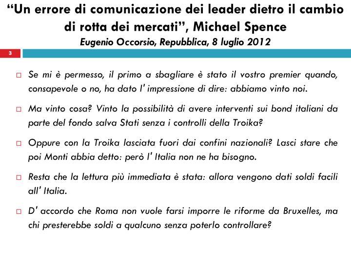 """""""Un errore di comunicazione dei leader dietro il cambio di rotta dei mercati"""", Michael"""