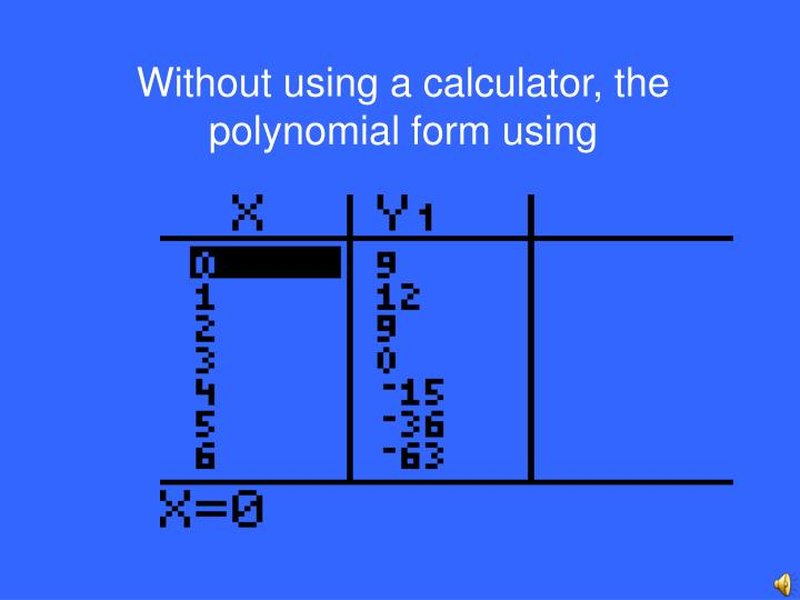 Without using a calculator, the polynomial form using