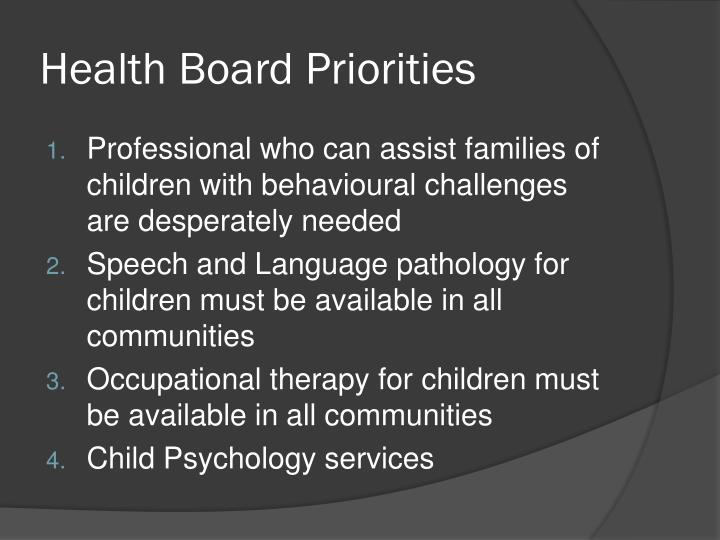 Health Board Priorities