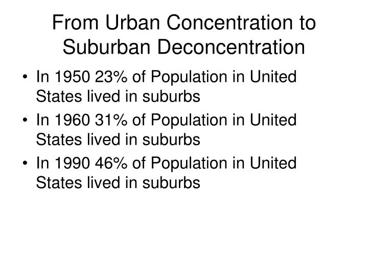 From Urban Concentration to Suburban Deconcentration