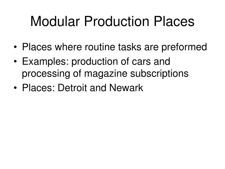 Modular Production Places