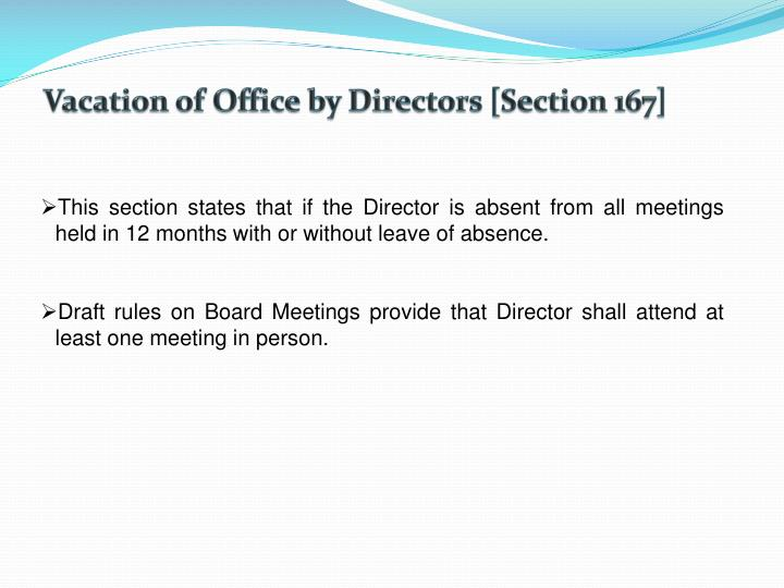Vacation of Office by Directors [Section 167]